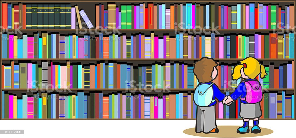 School Library royalty-free stock vector art