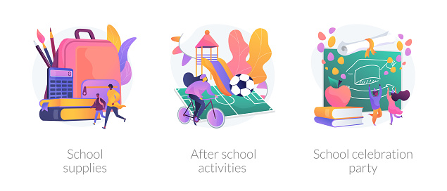 School life abstract concept vector illustrations.