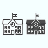 School line and solid icon. School building vector illustration isolated on white. Building with clock and flag outline style design, designed for web and app. Eps 10