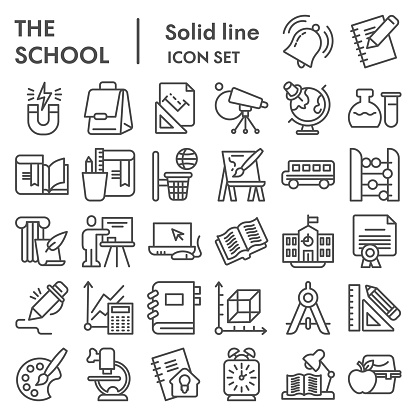 School line icon set. Education collection, vector sketches, logo illustrations, web symbols, outline style pictograms package isolated on white background.