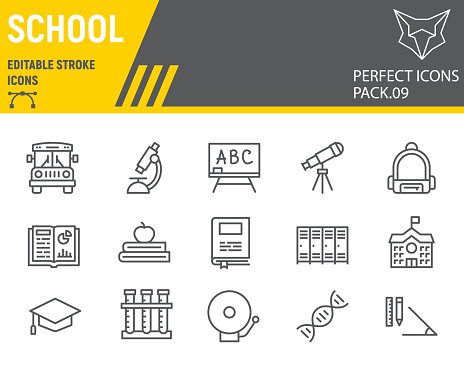 School line icon set, education symbols collection, vector sketches, logo illustrations, back to school icons, knowledge signs linear pictograms, editable stroke.
