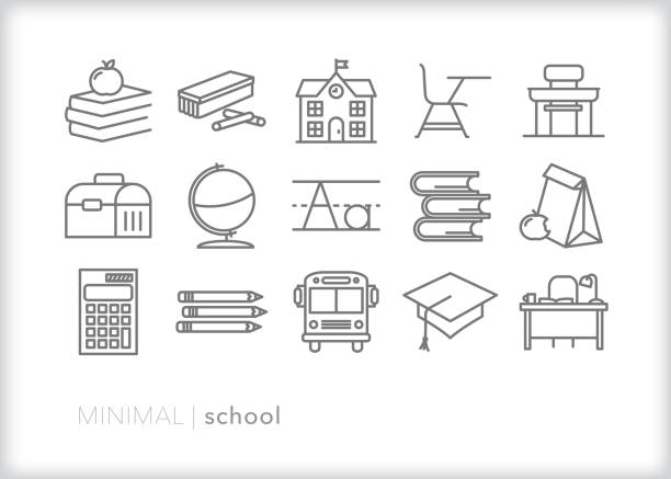 School line icon set Set of 15 school line icons for education items including books, globe, school bus, chalk, eraser, desk, lunch box, calculator, pencils and graduation cap elementary school teacher stock illustrations