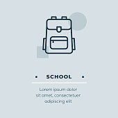 School icon on blue background with keywords