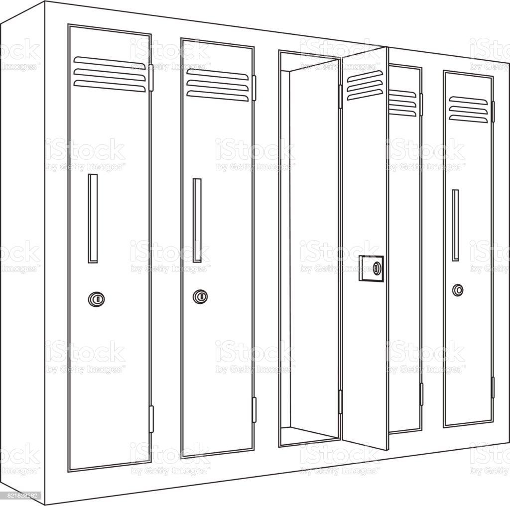 School Locker With Open Door Outline Icon Stock Illustration Download Image Now Istock