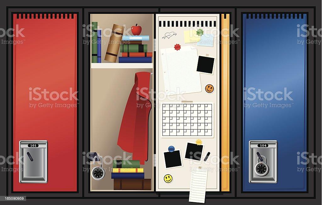 School Lockers vector art illustration