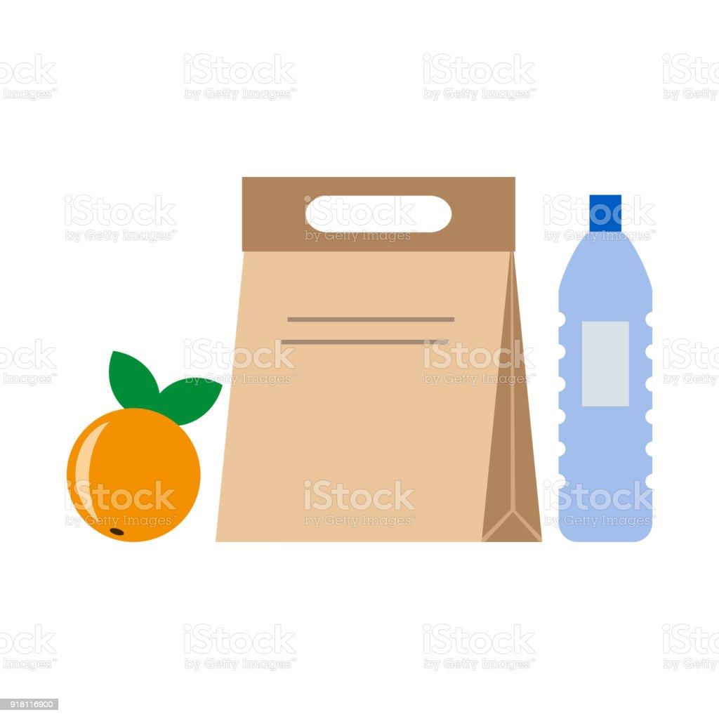 Lonchera escolar almuerzo y negocios. - ilustración de arte vectorial