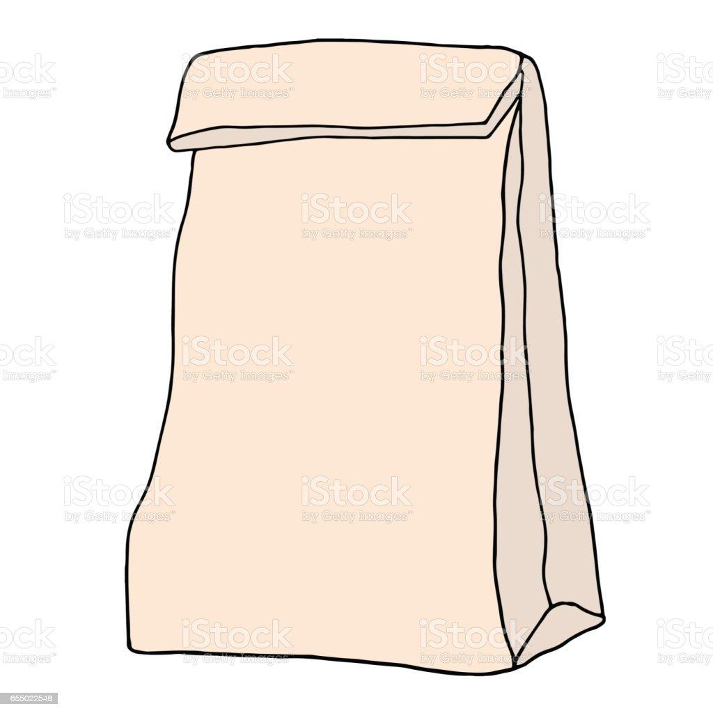 School lunch bag. Hand drawn vector illustration. vector art illustration