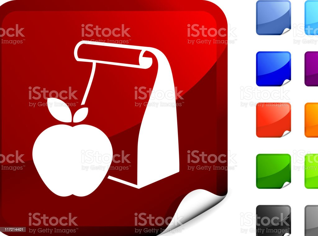 school lunch bag with apple internet royalty free vector art vector art illustration