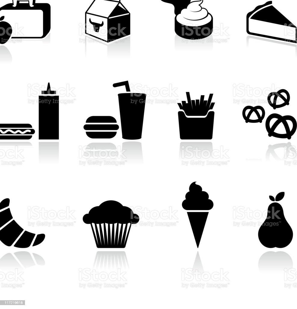 Almuerzo en la escuela en blanco y negro Sin royalties de arte vectorial - ilustración de arte vectorial