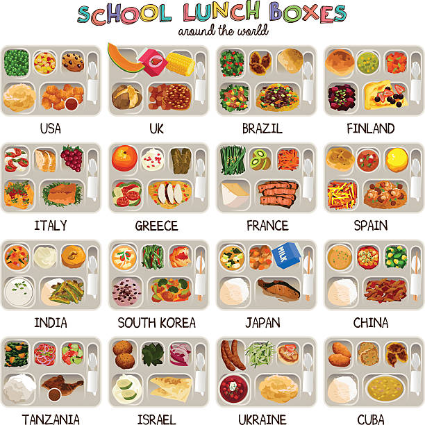 school lunch boxes icons - スペイン料理点のイラスト素材/クリップアート素材/マンガ素材/アイコン素材