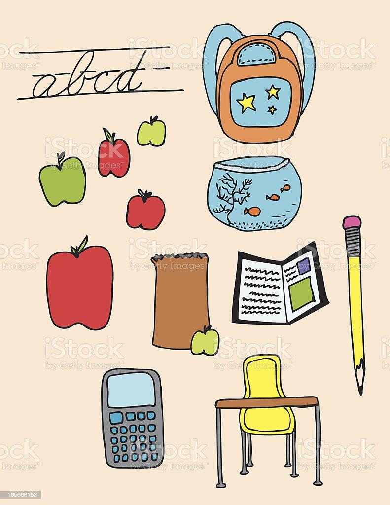 School Lunch Elements vector art illustration
