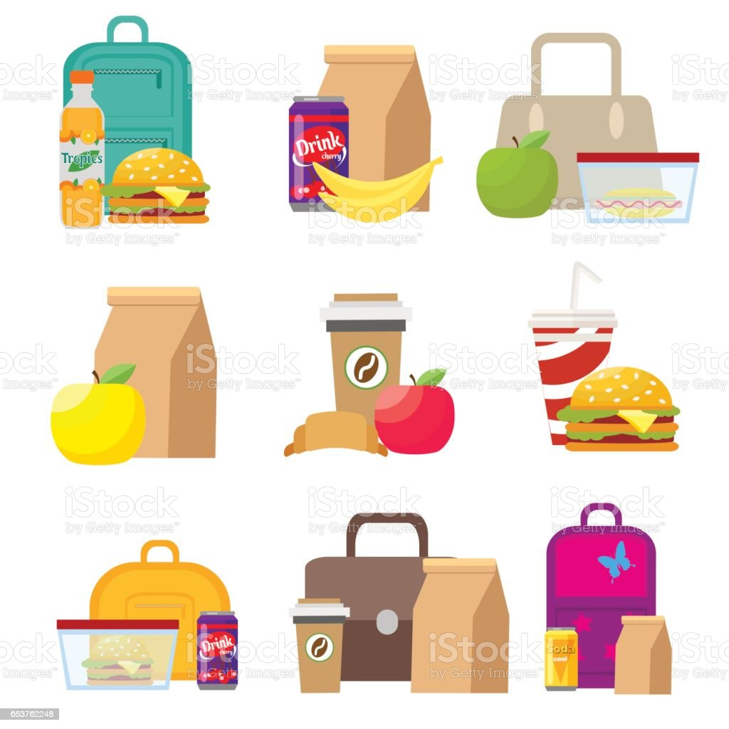School lunch food boxes and kids bags. Vector, illustration in flat style isolated on white background EPS10. vector art illustration