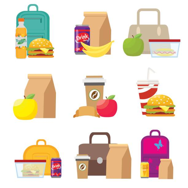 stockillustraties, clipart, cartoons en iconen met lunch voedsel dozen en kinderen schooltassen. vector, illustratie in vlakke stijl geïsoleerd op een witte achtergrond eps10. - lunch