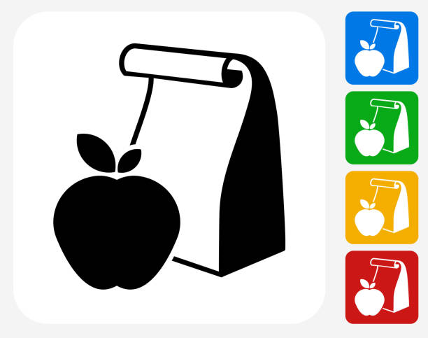 stockillustraties, clipart, cartoons en iconen met school lunch icon flat graphic design - lunch