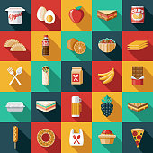 A set of school lunch icons. File is built in the CMYK color space for optimal printing. Color swatches are global so it's easy to edit and change the colors.
