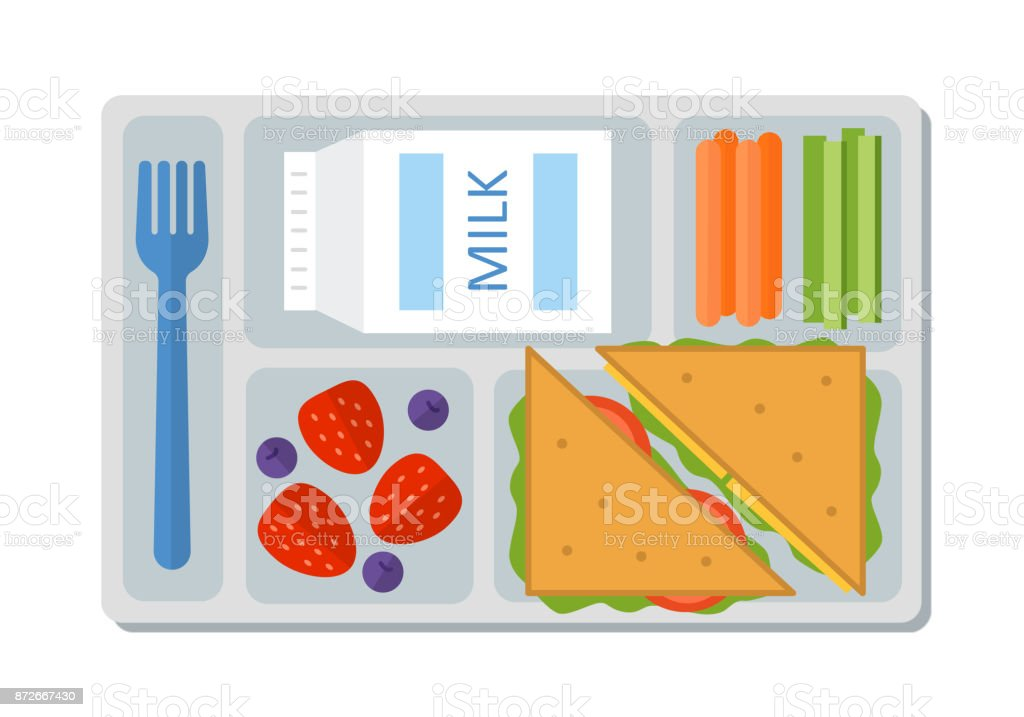 School lunch in flat style vector art illustration