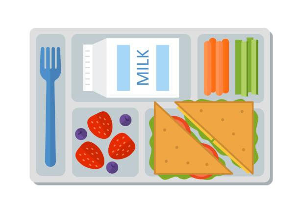 stockillustraties, clipart, cartoons en iconen met school lunch in vlakke stijl - schotel