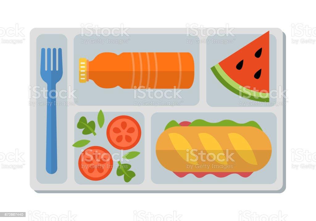 School lunch in flat style vector art illustration