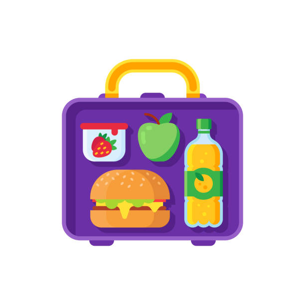 school lunch in lunchbox. healthy dinner in food box. schoolkid meal metal bag with sandwich, apple and snacks cartoon vector illustration - lunch box stock illustrations, clip art, cartoons, & icons