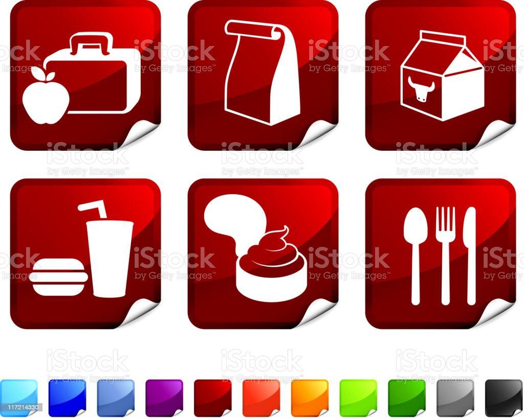 Almuerzo en la escuela icono conjunto de vector sin royalties - ilustración de arte vectorial
