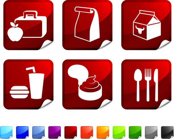 school lunch royalty free vector icon set - lunch box stock illustrations, clip art, cartoons, & icons