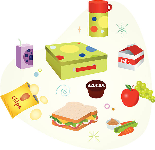 school lunch - lunch box stock illustrations, clip art, cartoons, & icons