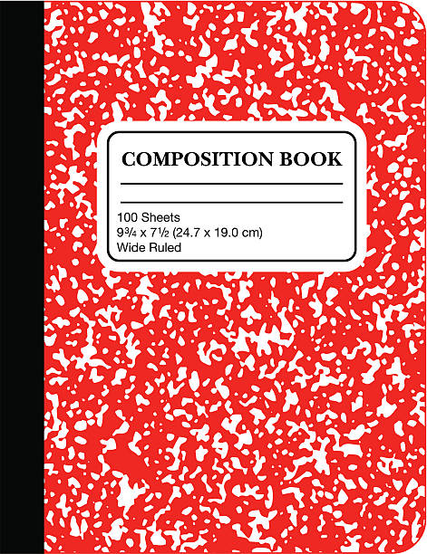 school marble composition book -red (vector) - composition stock illustrations