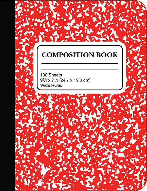 school marble composition book -red (vector) - 構圖 幅插畫檔、美工圖案、卡通及圖標
