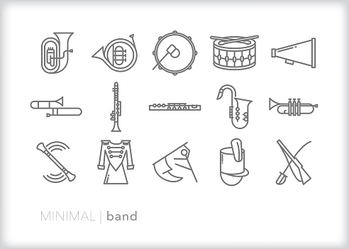 School marching band line icons for musicians, drum majors and color guard members