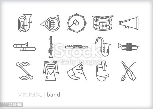 Set of 15 marching band line icons of musical instruments including tuba, french horn, base drum, snare drum, trumpet, trombone, clarinet, flute, saxophone, baton, megaphone, saber, rifle and color guard flag