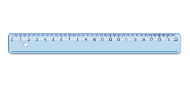 School measuring plastic ruler School measuring plastic rulers 20 centimeter in blue color ruler stock illustrations