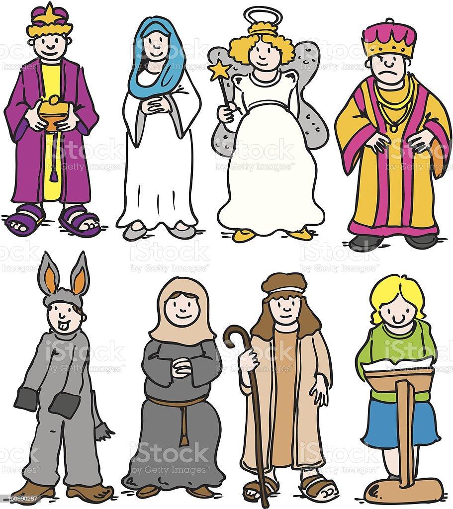 School Nativity characters royalty-free stock vector art