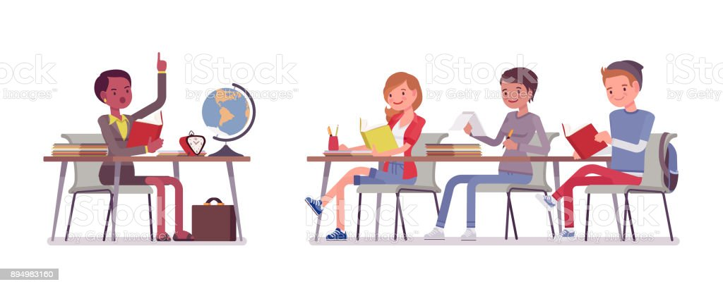 School normal behaviour vector art illustration