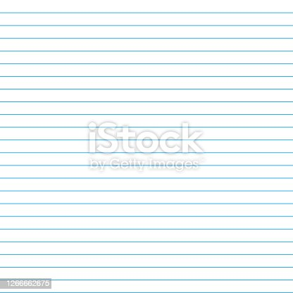 istock School notebook texture blank sheet. Vector paper exercise book in a line. Ruled notebook sheet 1266662675