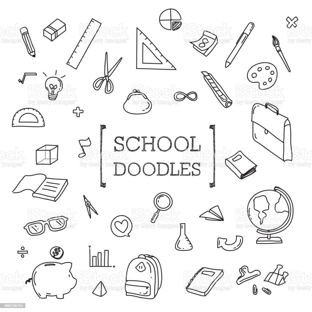 School objects doodle.