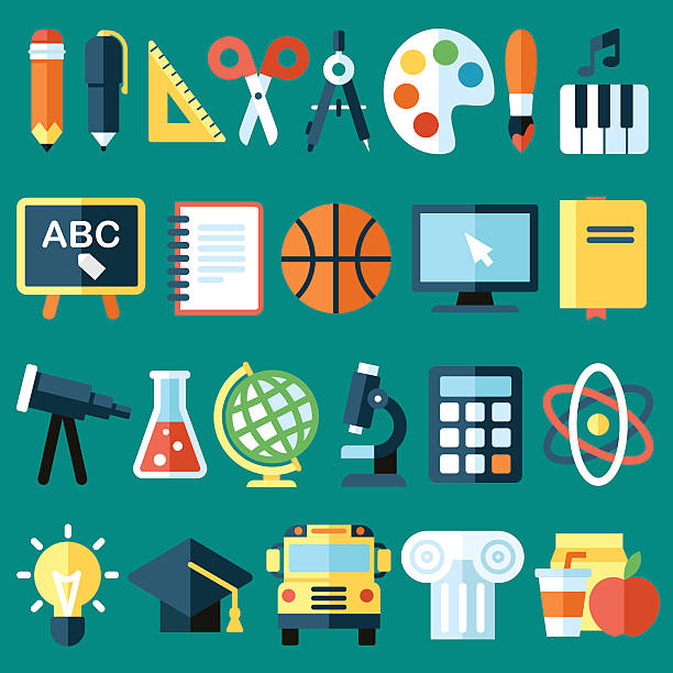 school objects - primary school stock illustrations, clip art, cartoons, & icons