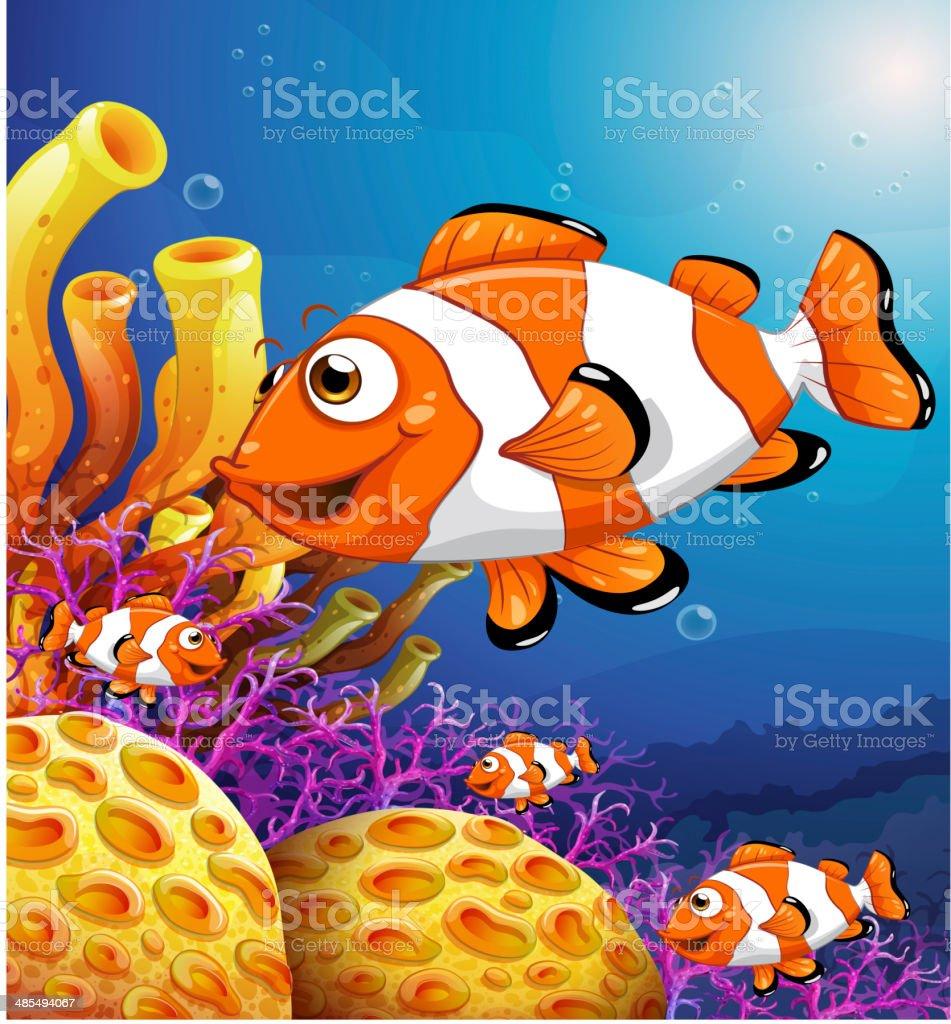 school of fish near the beautiful coral reefs vector art illustration