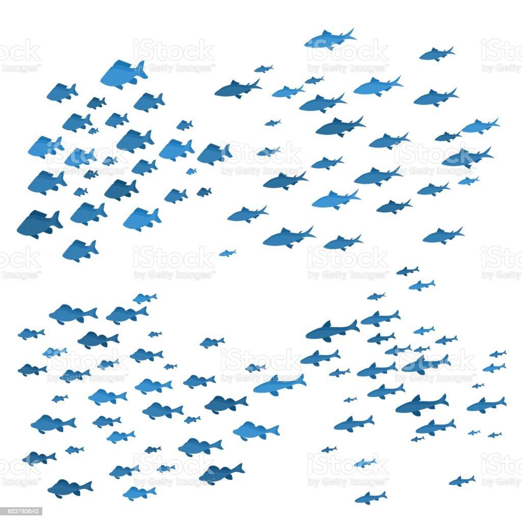 École de poissons mer Blue Silhouettes. Vector - Illustration vectorielle