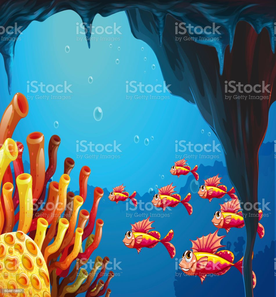 School of fishes going to coral reefs inside the cave royalty-free stock vector art