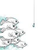 vector illustration of a school of fish.