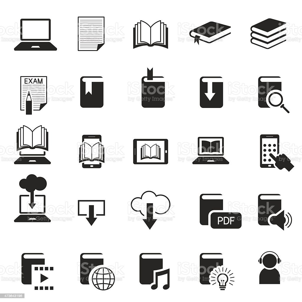 School Online, E-Learning, E-Book, Book Icons Set vector art illustration