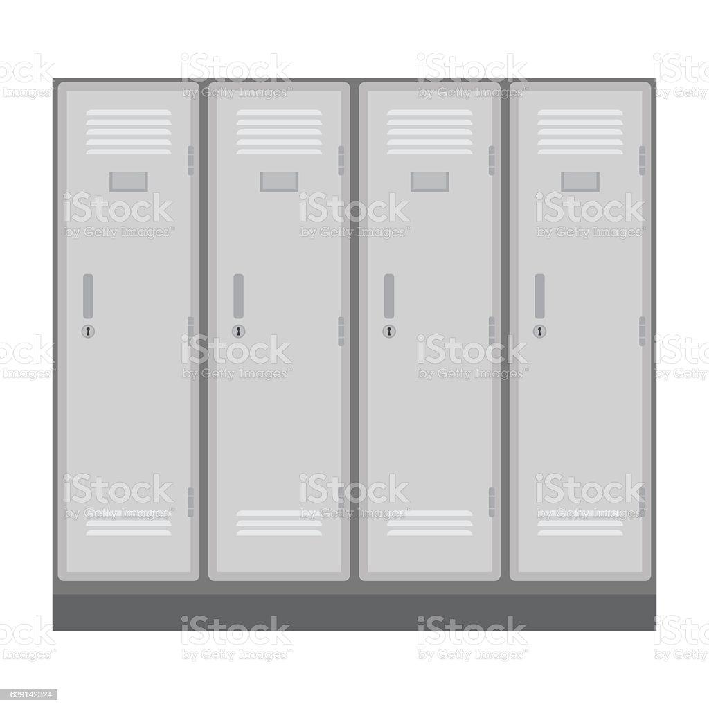 School or changing room lockers. vector art illustration