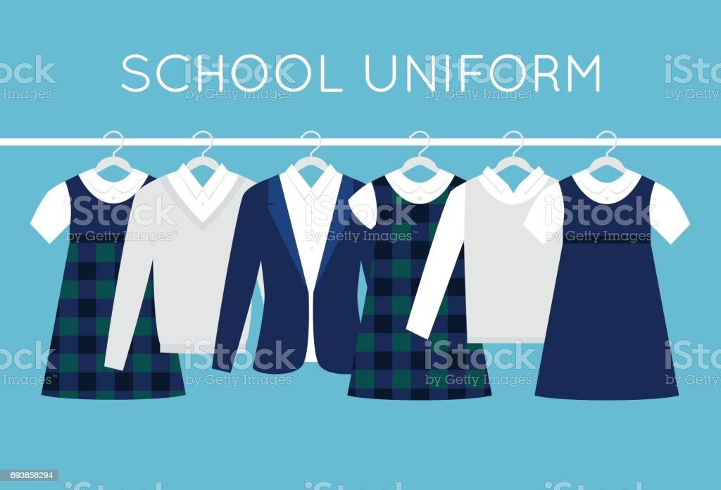 School or College Uniforms on Hangers in Line. Kids Clothes Vector Set royalty-free school or college uniforms on hangers in line kids clothes vector set stock illustration - download image now