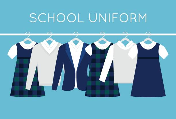 stockillustraties, clipart, cartoons en iconen met school of college uniformen op hangers in lijn. kinderen kleding vector set - schooluniform