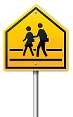 School or crossing guard road caution sign.