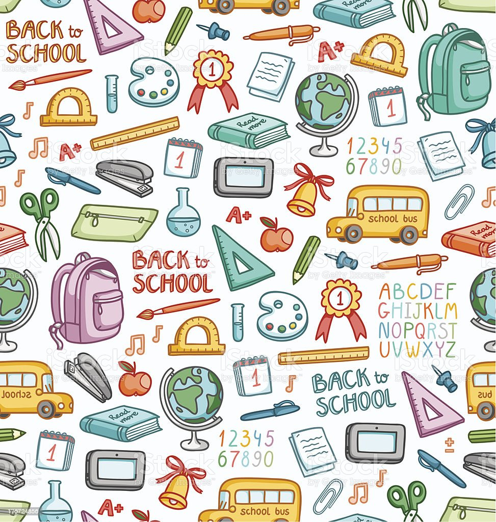 School pattern in color royalty-free school pattern in color stock vector art & more images of alphabet