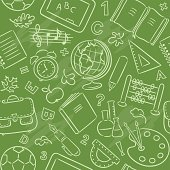 A seamless pattern with school things.