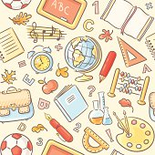 A seamless pattern with school objects.