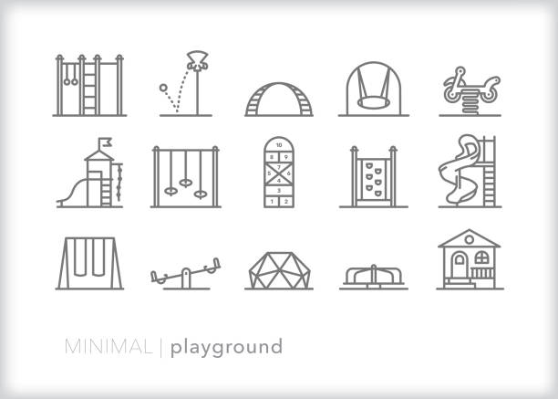 School playground line icon set School or park playground equipment line icons including jungle gym, slide, playhouse, swings, teeter totter, climbing wall, funnel ball, merry go round, hopscotch recess stock illustrations