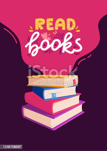istock School poster with colorful books and text. 1246706597